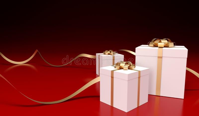 Boîtes actuelles avec des rubans d'or illustration stock