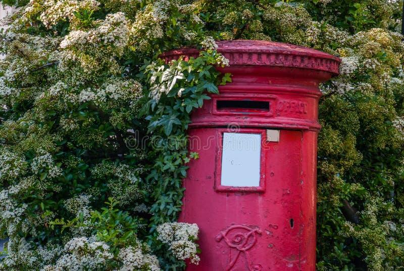 Bo?tes anglaises traditionnelles de courrier avec des arbres couverts images libres de droits