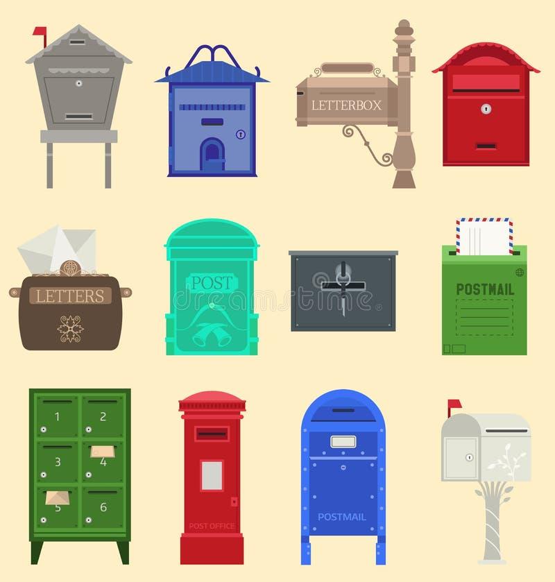Boîtes aux lettres avec l'illustration de vecteur de drapeau de sémaphore Boîte aux lettres vide de courrier d'affranchissement d illustration de vecteur