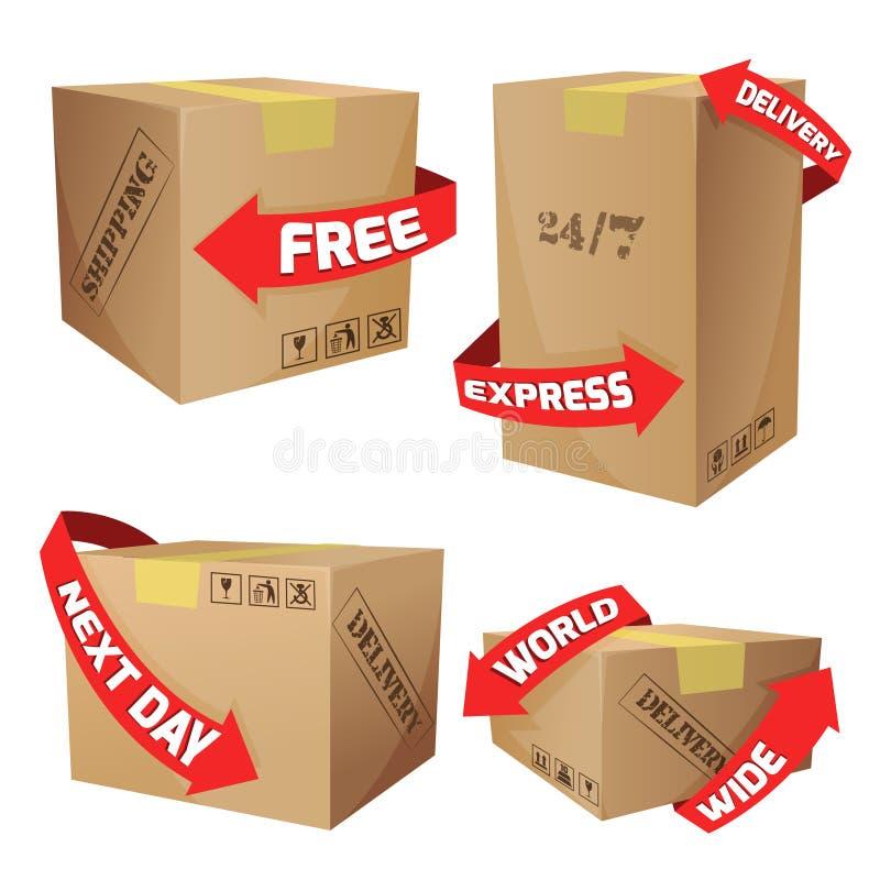 Boîtes avec des symboles de la livraison illustration libre de droits