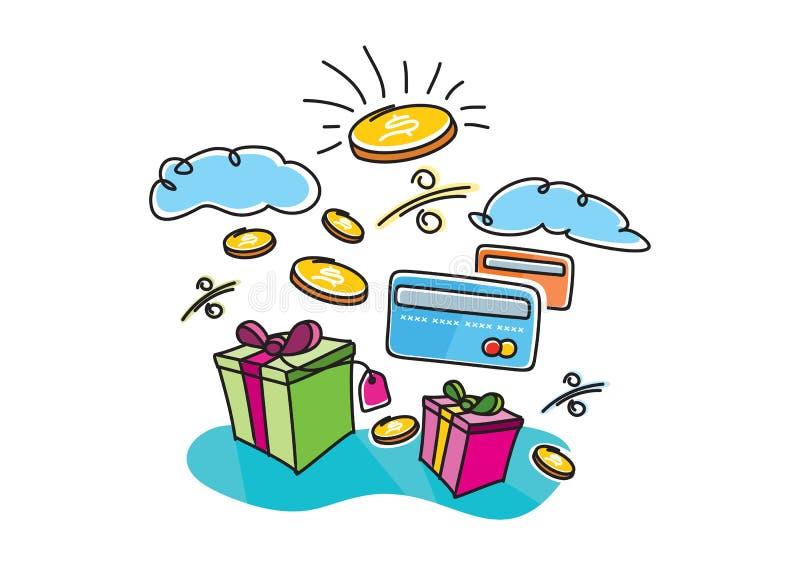 Boîtes avec les cartes de achat de paiement des intérêts de cadeaux illustration stock