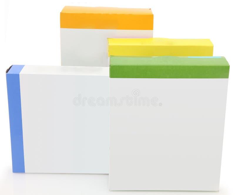 Boîtes blanc à nourriture d'étiquette photos stock
