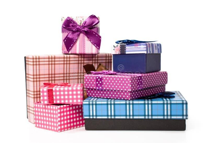 Boîtes-cadeau d'isolement image stock