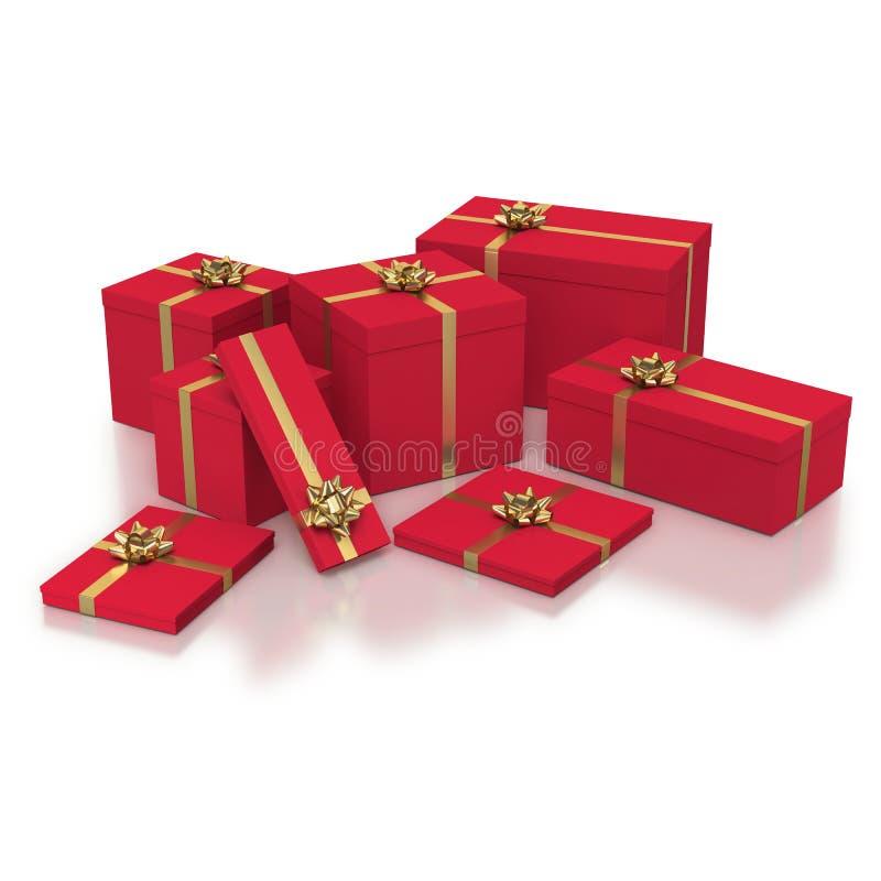 Composition des boîtes-cadeau rouges sur le fond blanc illustration libre de droits