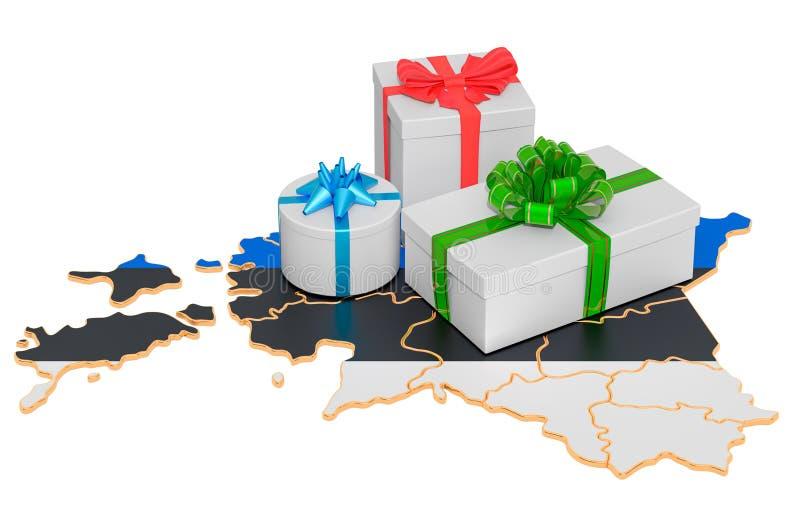Boîtes-cadeaux sur la carte estonienne Concept de Noël et de Nouvel An en Estonie rendu 3D illustration stock