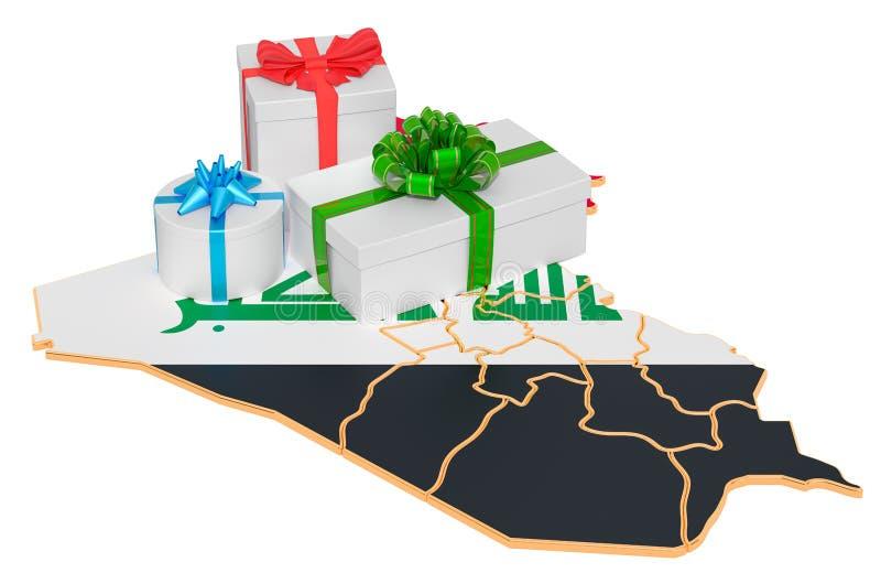 Boîtes cadeaux sur la carte irakienne Concept de Noël et de Nouvel An en Irak rendu 3D illustration de vecteur
