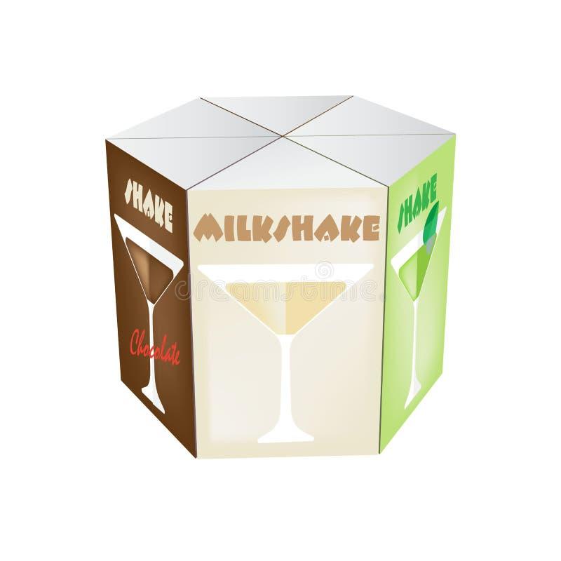 Boîtes colorées réalistes blanches vides pour le jus, secousse : lait, chocolat illustration libre de droits
