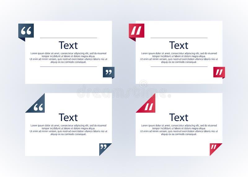 Boîtes de citation avec des marques réglées illustration de vecteur