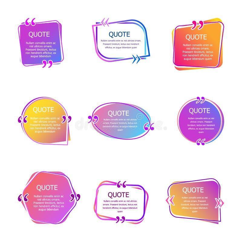 Boîtes de citation avec le texte Placez de couleur cite des calibres de bulle Bulles de la parole La citation dans le vecteur cré illustration stock
