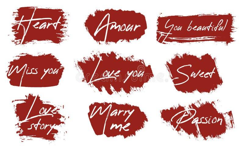 Boîtes de course de brosse de vecteur réglées Bandes peintes, rond, place Texture grunge Le texte au sujet de l'amour pour des ca illustration libre de droits