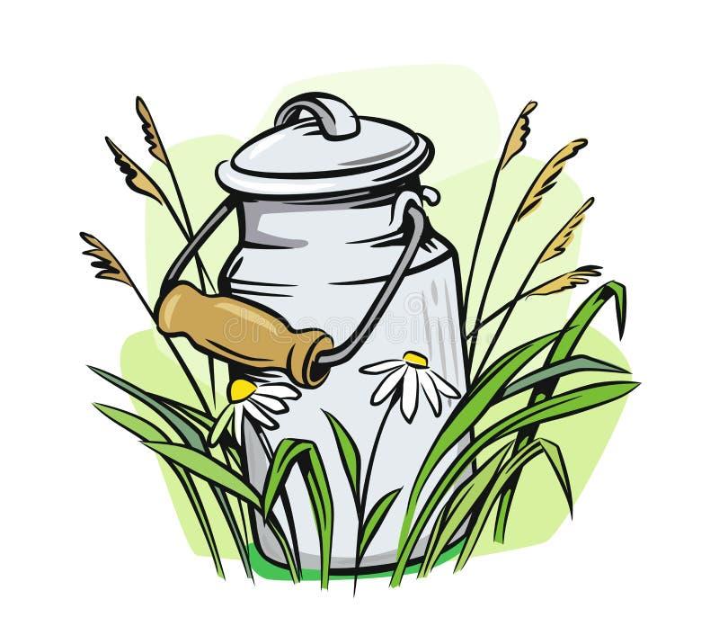 Boîtes de lait avec l'herbe illustration de vecteur