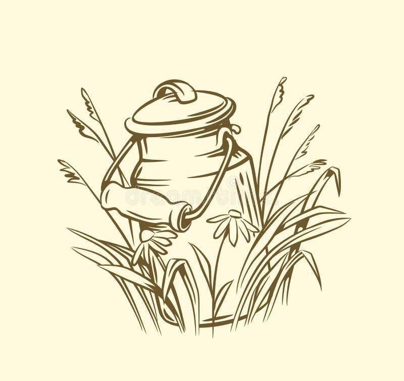 Boîtes de lait avec l'herbe illustration libre de droits