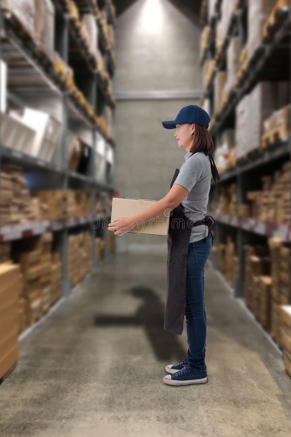 Boîtes de levage de colis de personnel féminin dans l'entrepôt photos libres de droits