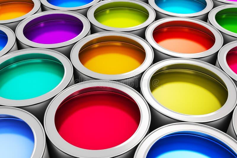 Boîtes de peinture de couleur illustration de vecteur