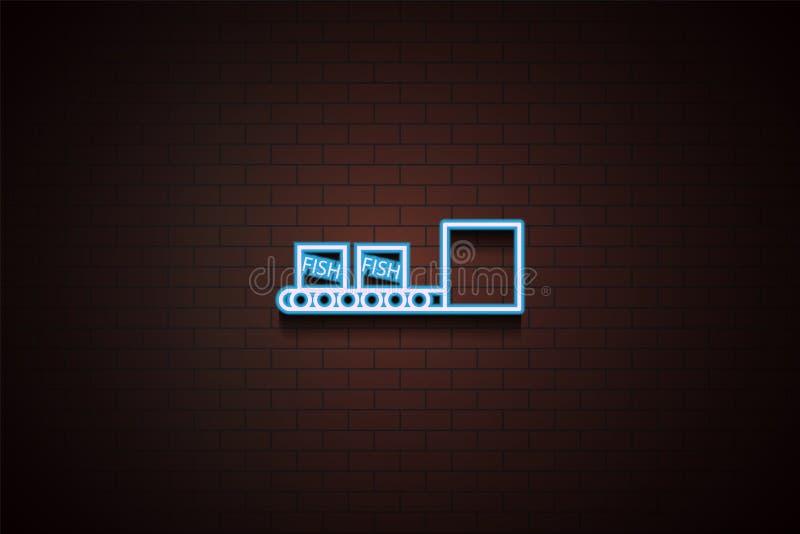 boîtes de poissons sur l'icône de bande de conveyeur en néon illustration libre de droits