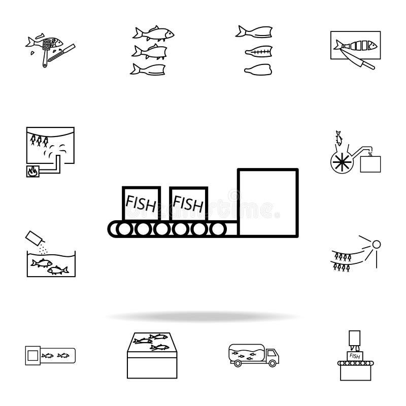 boîtes de poissons sur l'icône de bande de conveyeur pêchez l'ensemble universel d'icônes de production pour le Web et le mobile illustration stock