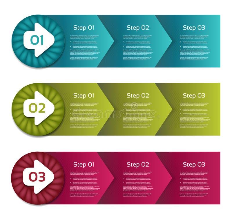 Boîtes de processus de flèches ensemble étape-par-étape de vecteur étapes trois illustration de vecteur