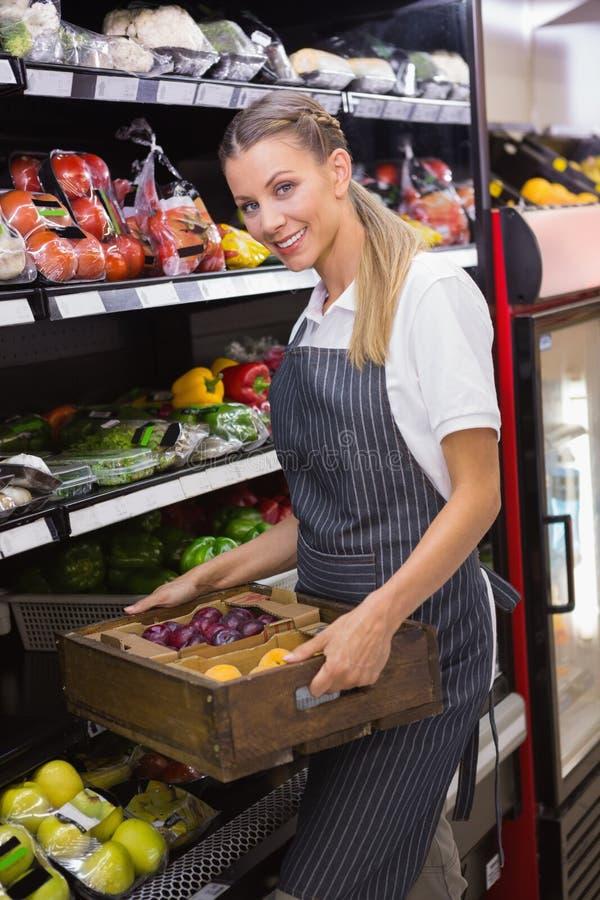 Download Boîtes De Transport Assez Blondes De Légumes Frais Image stock - Image du personne, caucasien: 56489197