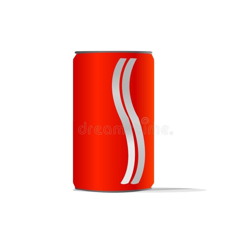 Boîtes en aluminium rouges avec deux la ligne blanche idéal pour l'eau de jus de boissons d'énergie de kola de limonade de soude  illustration libre de droits