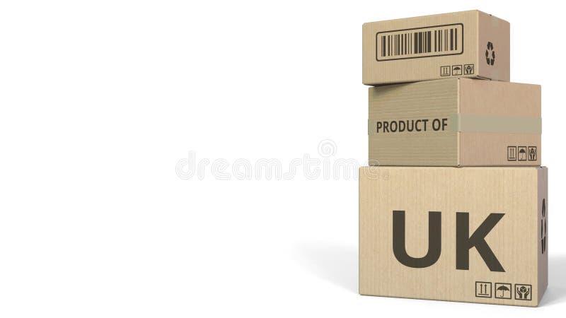 Boîtes en baisse avec le PRODUIT du texte BRITANNIQUE Rendu 3d conceptuel illustration de vecteur