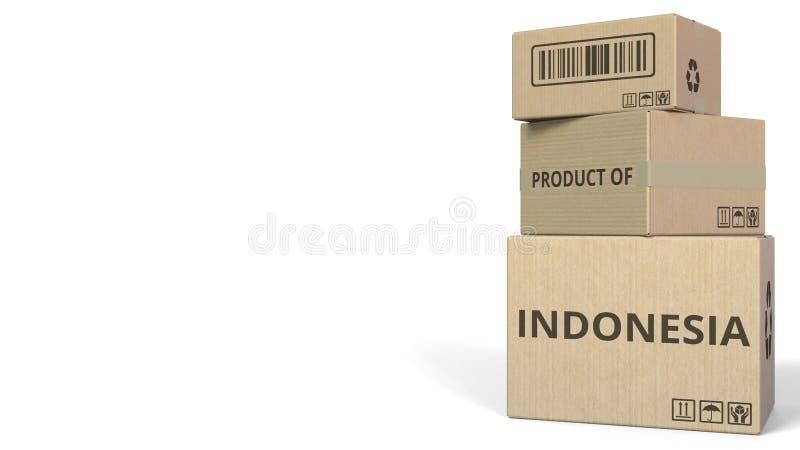 Boîtes en baisse avec le PRODUIT du texte de l'INDONÉSIE Rendu 3d conceptuel illustration stock