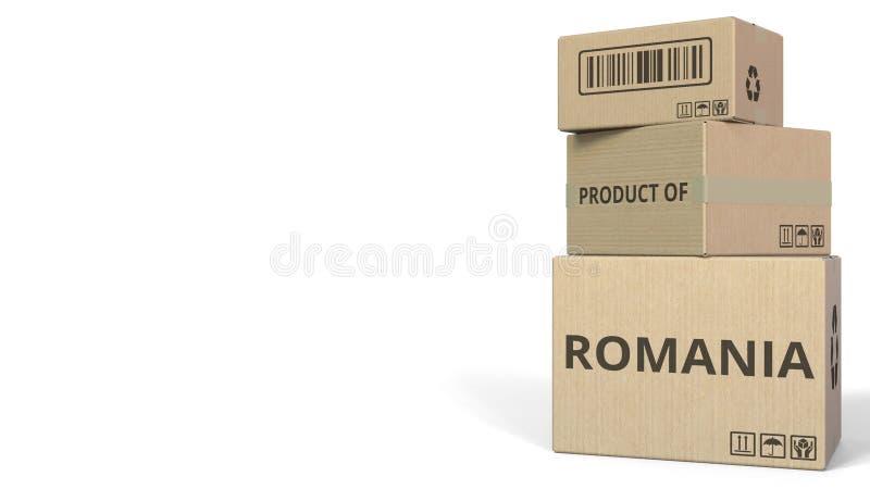 Boîtes en baisse avec le PRODUIT du texte de la ROUMANIE Rendu 3d conceptuel illustration stock