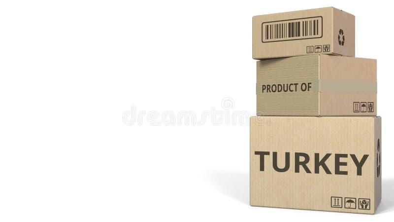 Boîtes en baisse avec le PRODUIT du texte de la TURQUIE Rendu 3d conceptuel illustration stock