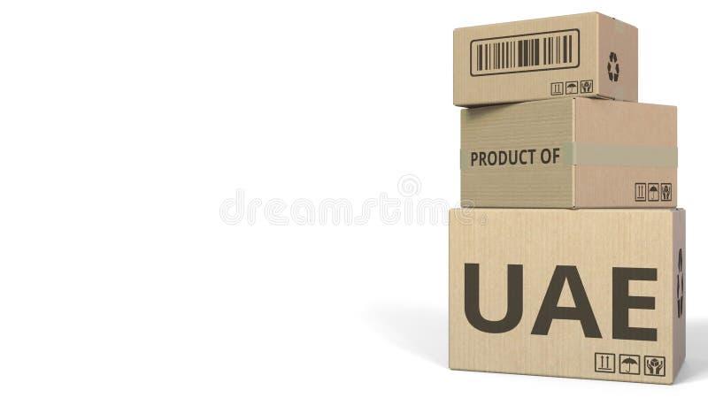 Boîtes en baisse avec le PRODUIT du texte des EAU Rendu 3d conceptuel illustration stock