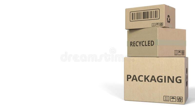 Boîtes en baisse avec le texte de EMPAQUETAGE RÉUTILISÉ Rendu 3d conceptuel illustration stock