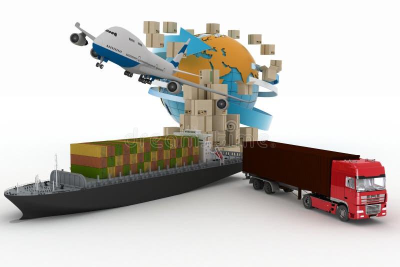 Boîtes en carton autour de globe, de cargo, de camion et d'avion illustration stock