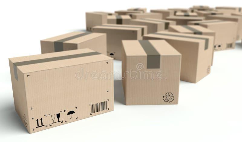 Boîtes en carton avec le cadre vide des textes illustration de vecteur