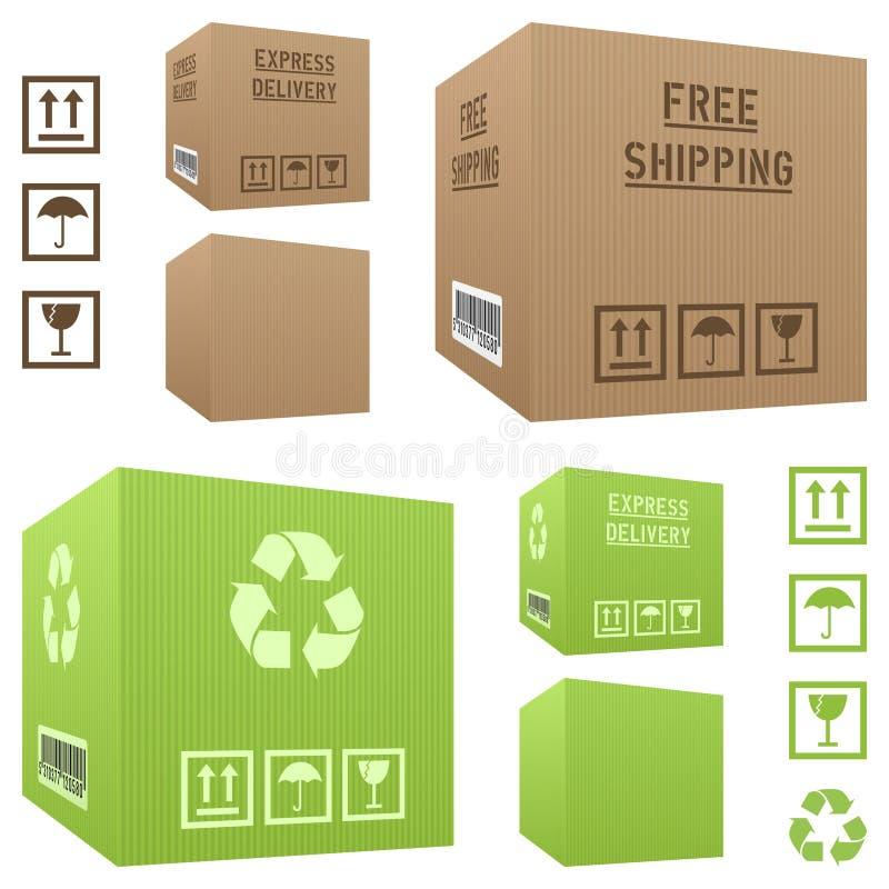 Boîtes en carton d'expédition réglées illustration libre de droits