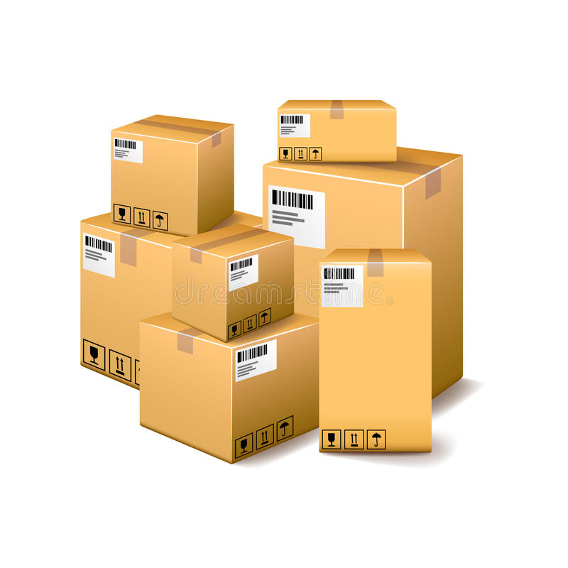 Boîtes en carton d'isolement sur le vecteur blanc illustration stock