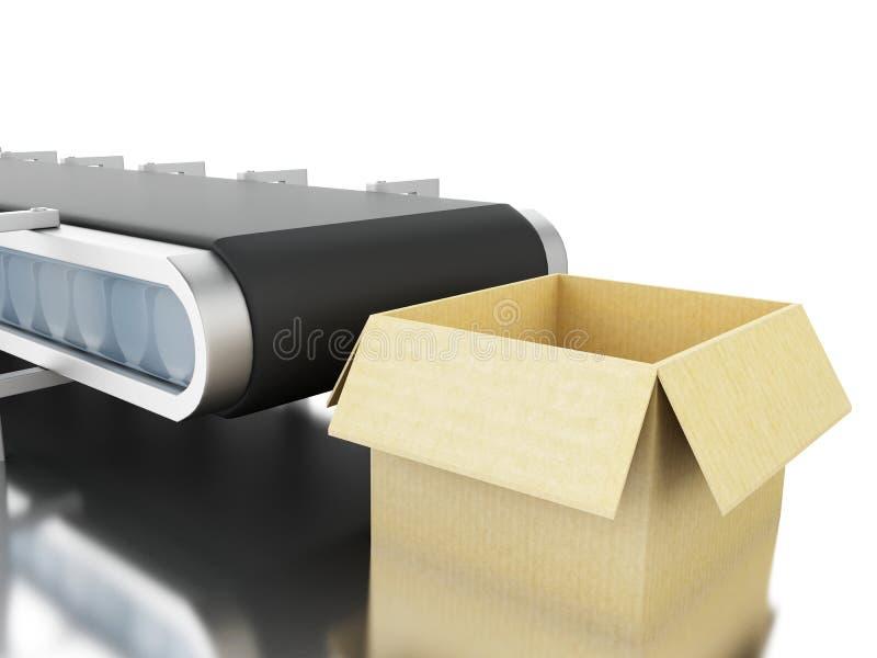 boîtes en carton 3d sur la bande de conveyeur illustration libre de droits