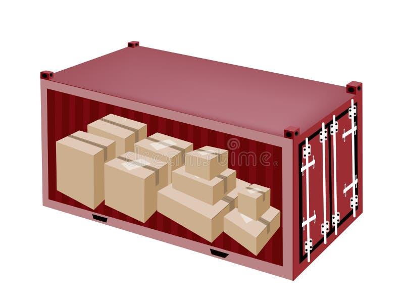 Boîtes en carton dans le récipient de cargaison sur Backgr blanc illustration libre de droits