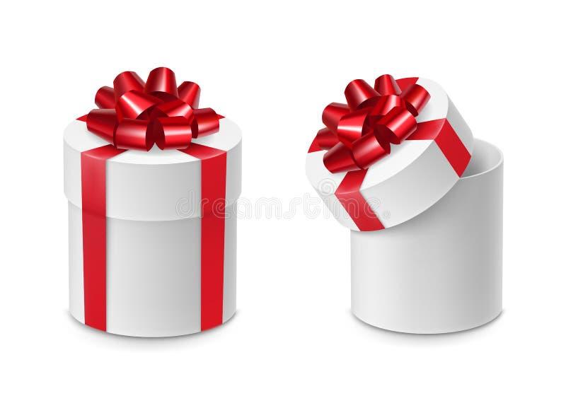 Boîtes en carton de cylindre avec les arcs rouges de ruban illustration stock