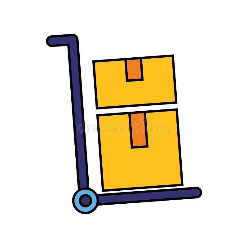 Boîtes en carton de la livraison de chariot illustration libre de droits