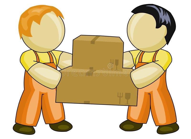 Boîtes en carton de transport de gens illustration libre de droits