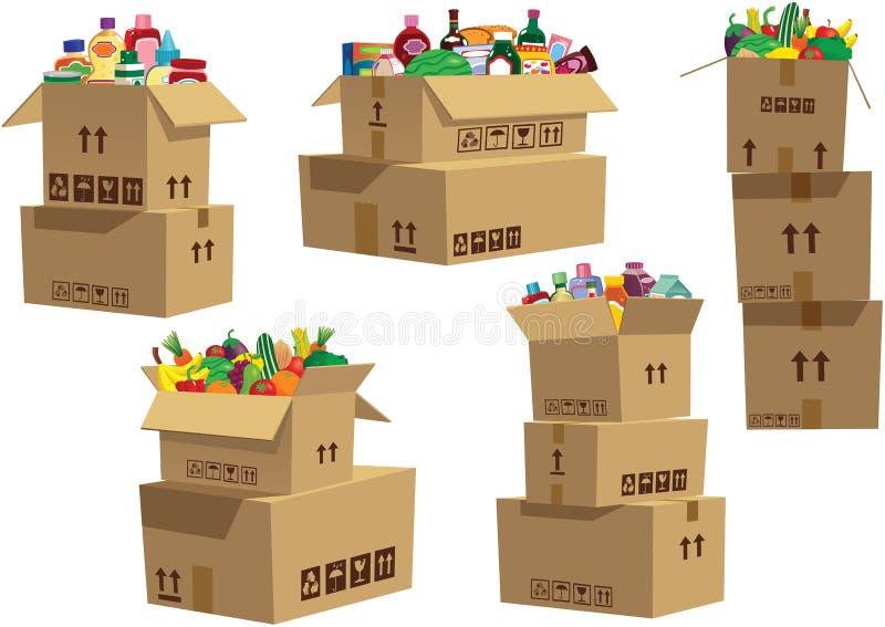 Boîtes en carton empilées avec des marchandises illustration de vecteur