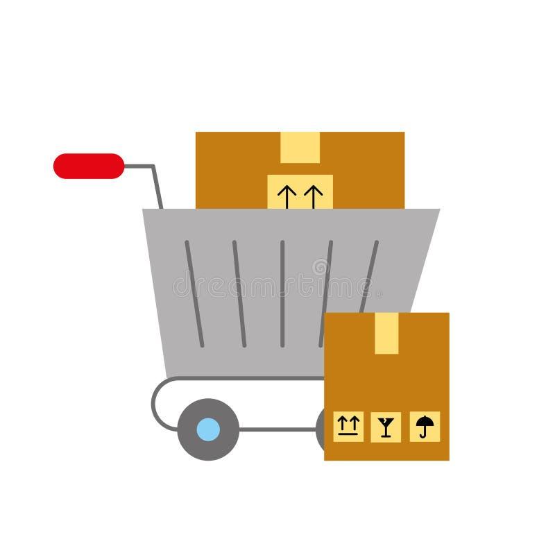 Boîtes en carton logistiques de achat en ligne de chariot illustration stock