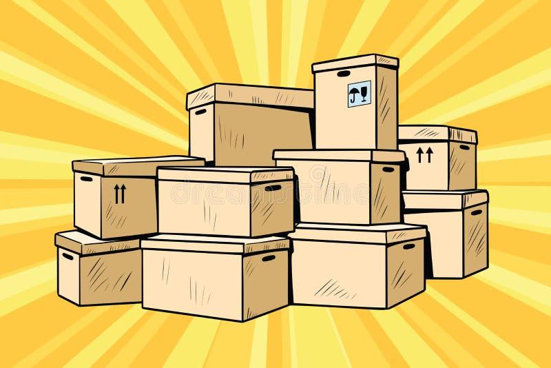 Boîtes en carton pour l'empaquetage illustration de vecteur