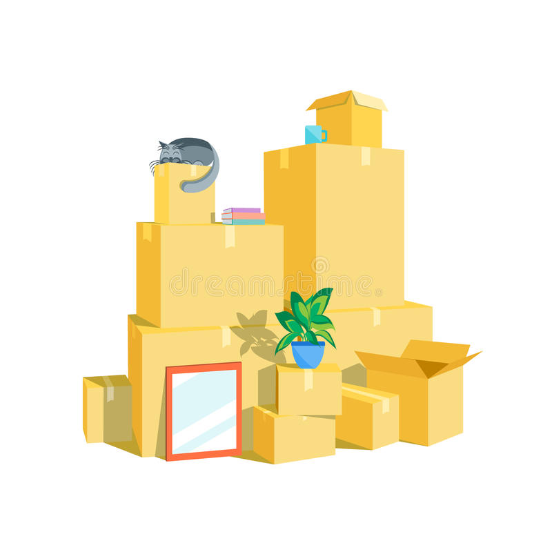 Boîtes en carton réglées Vecteur illustration stock