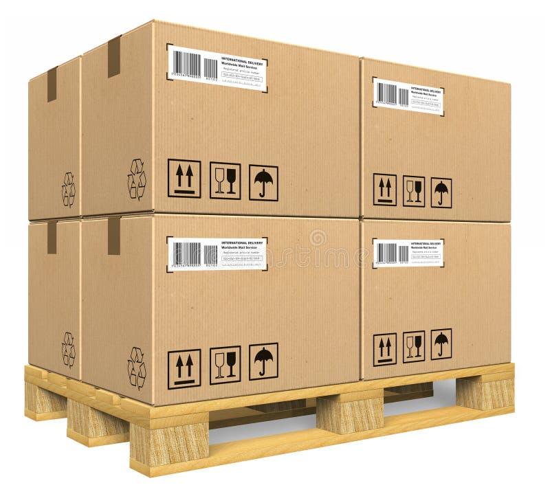 Boîtes en carton sur la palette