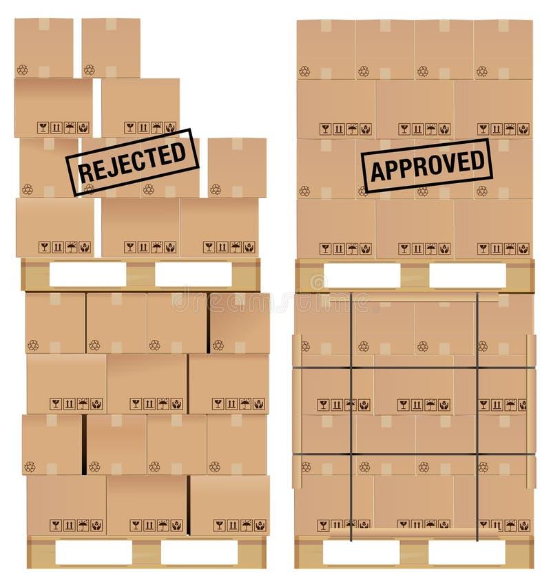 Boîtes en carton sur la palette en bois illustration libre de droits