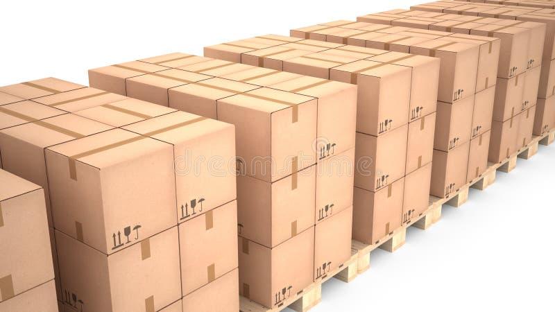 Boîtes en carton sur les palettes en bois et le x28 ; 3d illustration& x29 ; illustration de vecteur