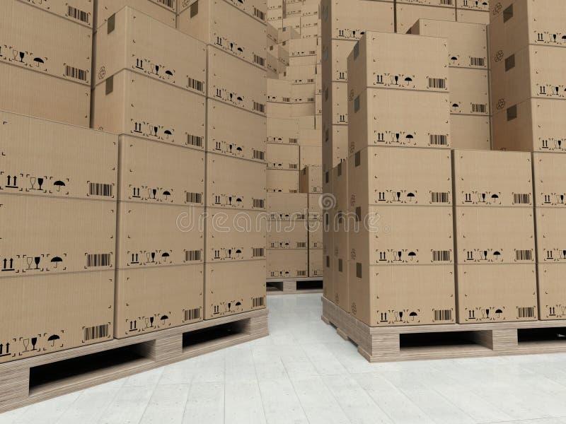 Boîtes en carton sur les paletts en bois, à l'intérieur de l'entrepôt photo libre de droits