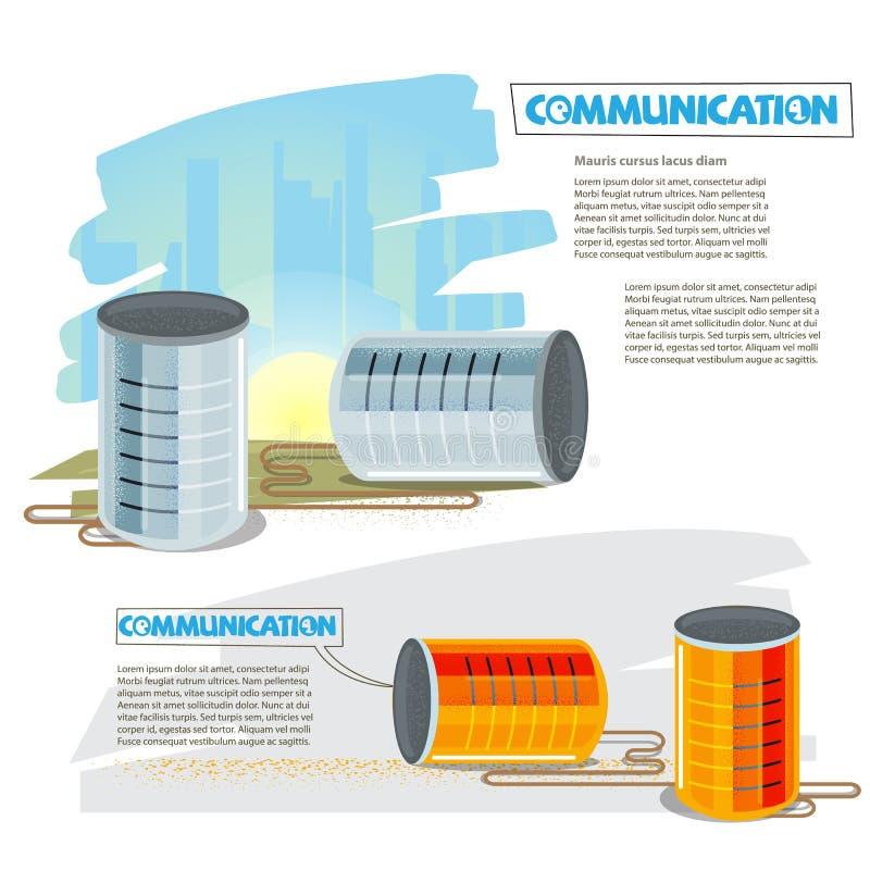 Boîtes en fer blanc à l'écoute ou à parler ensemble Peut téléphoner Communicat illustration de vecteur