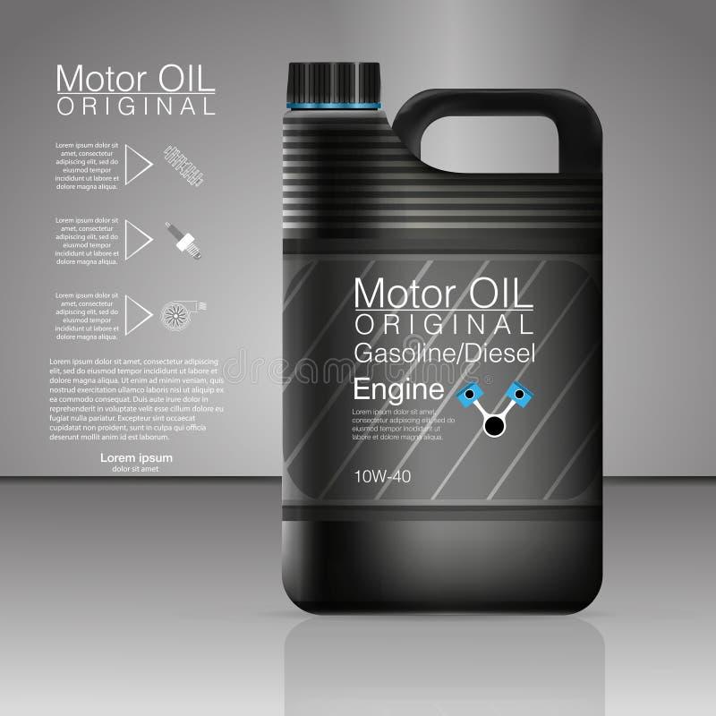 Boîtes en plastique pour l'huile à moteur et les fluides techniques Moteur de bouteille d'huile de boîte métallique de vecteur d' illustration de vecteur