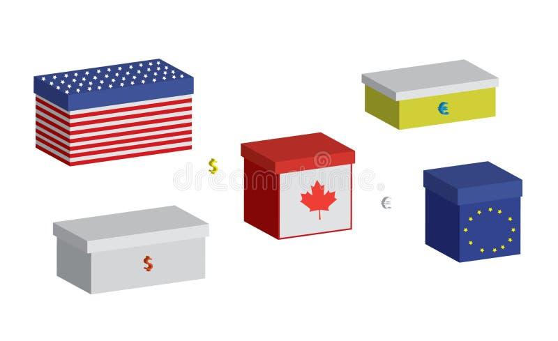Boîtes financières réglées illustration stock
