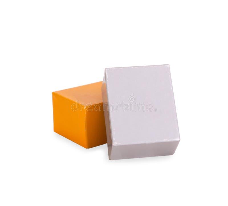 Boîtes grises et jaunes photos stock